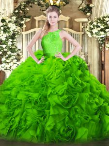 Scoop Zipper Lace Quinceanera Gown Sleeveless