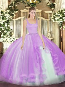 Hot Selling Sleeveless Tulle Floor Length Zipper Quinceanera Dresses in Lavender with Beading