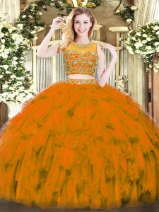 Enchanting Scoop Sleeveless Zipper Quinceanera Dresses Rust Red Tulle