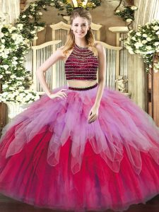 Elegant Multi-color Sleeveless Tulle Lace Up Ball Gown Prom Dress for Military Ball and Sweet 16 and Quinceanera