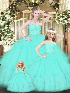 Lovely Organza Sweetheart Sleeveless Zipper Lace and Ruffled Layers Quinceanera Dresses in Apple Green