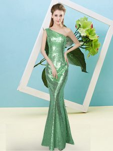 Turquoise One Shoulder Neckline Sequins Prom Dress Sleeveless Zipper