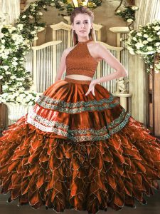 Cute Sleeveless Floor Length Beading and Embroidery and Ruffles Backless Sweet 16 Dresses with Rust Red