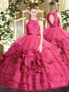 Shining Floor Length Hot Pink Quinceanera Gowns Scoop Sleeveless Zipper