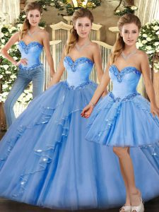 Cheap Baby Blue Ball Gown Prom Dress Military Ball and Sweet 16 and Quinceanera with Beading and Ruffles Sweetheart Sleeveless Lace Up