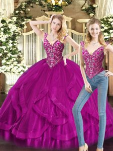 Ball Gowns Vestidos de Quinceanera Fuchsia V-neck Organza Sleeveless Floor Length Lace Up