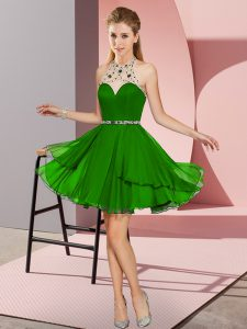 Beautiful Green Halter Top Neckline Beading Prom Dress Sleeveless Zipper