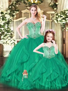 Traditional Floor Length Lace Up Sweet 16 Dress Green for Military Ball and Sweet 16 and Quinceanera with Beading and Ruffles