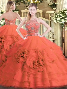 Fancy Red Halter Top Zipper Beading and Ruffled Layers 15 Quinceanera Dress Sleeveless