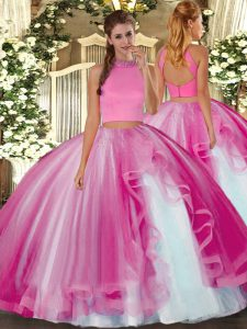 Hot Pink Backless Quinceanera Gowns Beading and Ruffles Sleeveless Floor Length