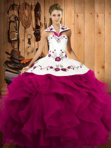 Fuchsia Tulle Lace Up Halter Top Sleeveless Floor Length Vestidos de Quinceanera Embroidery and Ruffles
