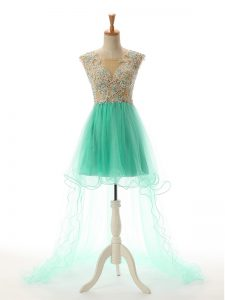 Chic Apple Green Tulle Backless Scoop Sleeveless High Low Prom Party Dress Appliques