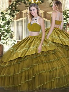 High-neck Sleeveless Backless 15 Quinceanera Dress Olive Green Tulle