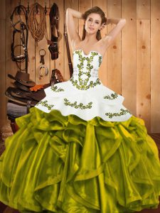Embroidery and Ruffles 15th Birthday Dress Olive Green Lace Up Sleeveless Floor Length