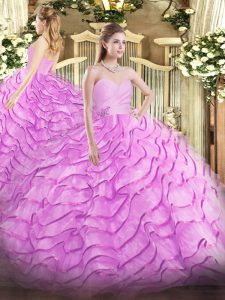 Lilac Lace Up Sweetheart Beading and Ruffled Layers Ball Gown Prom Dress Organza Sleeveless Brush Train