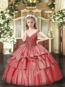 Floor Length Coral Red Pageant Dress Wholesale Organza Sleeveless Beading and Ruffled Layers