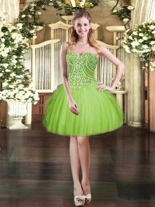 Affordable Lace Up Prom Dress Beading and Ruffles Sleeveless Mini Length