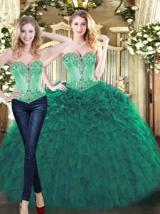Romantic Green Sleeveless Beading and Ruffles Floor Length Quinceanera Dresses