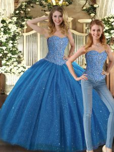 Attractive Tulle Sleeveless Floor Length Quinceanera Dress and Beading