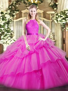 Organza Scoop Sleeveless Zipper Lace and Ruffled Layers Quinceanera Gowns in Fuchsia