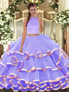 Extravagant Halter Top Sleeveless Organza Quince Ball Gowns Beading and Ruffled Layers Backless