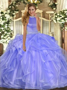 Floor Length Lavender Quinceanera Gown Halter Top Sleeveless Backless