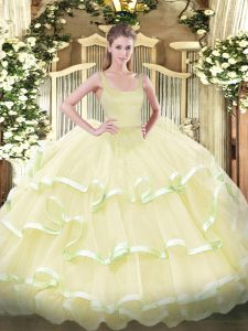 Enchanting Floor Length Light Yellow 15th Birthday Dress Straps Sleeveless Zipper