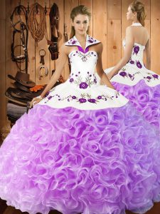 Lilac Sleeveless Fabric With Rolling Flowers Lace Up Vestidos de Quinceanera for Military Ball and Sweet 16 and Quinceanera