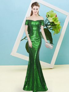 Super Green Zipper Off The Shoulder Sequins Prom Dresses Sequined Short Sleeves