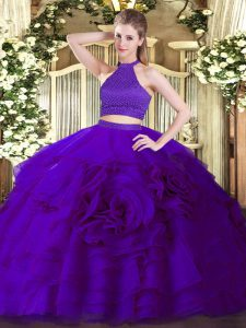 On Sale Purple Backless Halter Top Beading and Ruffles Vestidos de Quinceanera Tulle Sleeveless