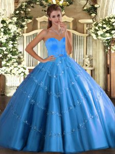 Floor Length Baby Blue Quinceanera Dress Tulle Sleeveless Beading and Appliques