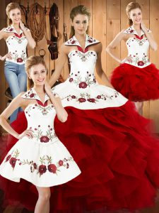 Glittering Satin and Organza Halter Top Sleeveless Lace Up Embroidery and Ruffles Quinceanera Dresses in Wine Red