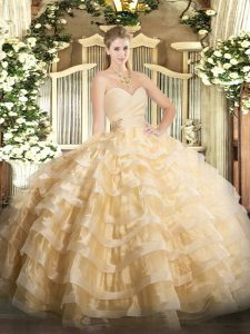 New Style Ball Gowns Quinceanera Dresses Champagne Sweetheart Organza Sleeveless Floor Length Lace Up