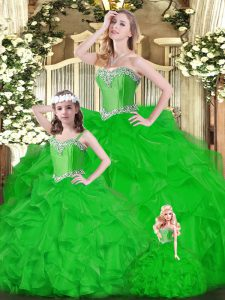 Wonderful Organza Sweetheart Sleeveless Lace Up Ruffles Quinceanera Dresses in Green