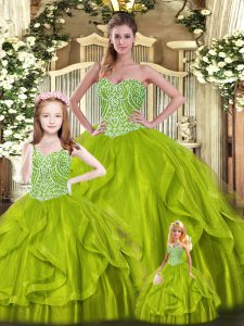 Olive Green Sleeveless Beading and Ruffles Floor Length Ball Gown Prom Dress
