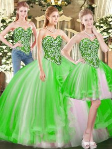 Clearance Lace Up Quince Ball Gowns Beading Sleeveless Floor Length
