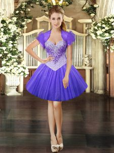 Sweetheart Sleeveless Lace Up Prom Evening Gown Lavender Tulle