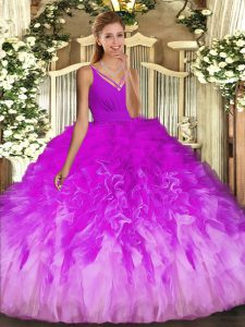 Custom Made V-neck Sleeveless Tulle Quinceanera Gowns Beading and Ruffles Backless