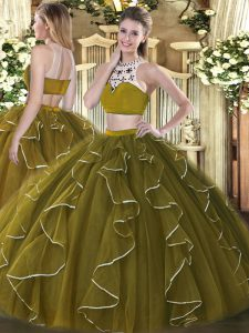 Colorful Beading and Ruffles Quinceanera Dress Olive Green Backless Sleeveless Floor Length