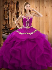 Affordable Sleeveless Organza Floor Length Lace Up 15th Birthday Dress in Fuchsia with Embroidery and Ruffles