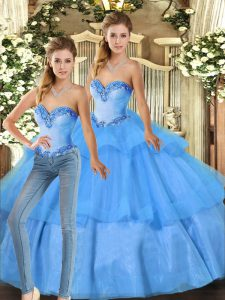Organza Sleeveless Floor Length 15 Quinceanera Dress and Beading and Ruffled Layers