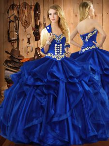 Colorful Sleeveless Embroidery and Ruffles Lace Up Quinceanera Dresses