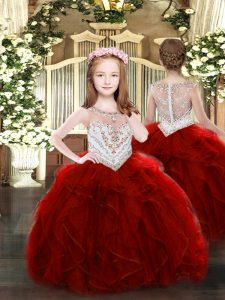 Wine Red Sleeveless Beading and Ruffles Floor Length Pageant Dress for Teens