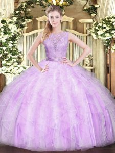 Smart Floor Length Lilac Quinceanera Dresses Scoop Sleeveless Backless