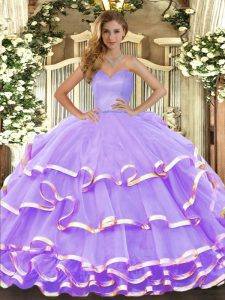 Delicate Lavender Lace Up Sweetheart Ruffled Layers 15th Birthday Dress Organza Sleeveless