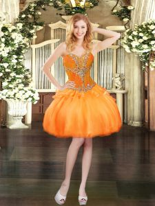 Sumptuous Sleeveless Lace Up Mini Length Beading Prom Dress