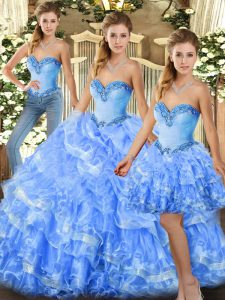 Ideal Sleeveless Organza Floor Length Lace Up Quince Ball Gowns in Light Blue with Beading and Ruffles