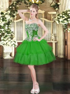Glorious Ball Gowns Prom Gown Green Sweetheart Organza Sleeveless Mini Length Lace Up