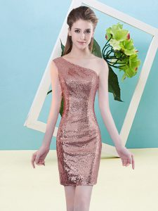 Sequins Prom Gown Coral Red Zipper Sleeveless Mini Length