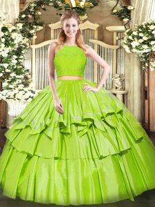 Yellow Green Two Pieces Ruffled Layers Quinceanera Dresses Zipper Tulle Sleeveless Floor Length